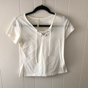 Small Laced Front Side/White T-Shirt